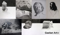 Seven images from a highschool portfolio (2014) ranging from charcoal to graphite by Angela Krieg
