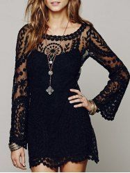 Sexy Scoop Collar Long Sleeve See-Through Solid Color Lace Women's Dress