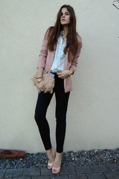 wheee, i'll try this ensemble with my pink blazer, crisp white button top and black jeans :)