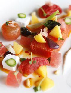 Tokara Restaurant - Tomato terrine with watermelon, fennel, peach & feta
