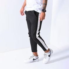Getting the right joggers shouldn't be hard for anyone. That's why we made it easy for you!  Jogger Pants Side Stripes - Black Regular price $54.99 USD Nike Outfits, Casual Outfits, Men Casual, Blackpink Fashion, Fashion Pants, Mens Joggers, Ankle Pants, Cool, Jogger Pants