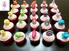 Stikeez cupcakes by elenasartofcakes Mini Cupcakes, Desserts, Food, Tailgate Desserts, Deserts, Eten, Postres, Dessert, Meals