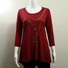 NWT Style&Co 3/4 Sleeve Embellished BustleBack Top NWT Style&Co 3/4 Sleeve Embellished BustleBack Top Retail $39 Style & Co Tops Blouses