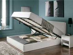 The Aden white high gloss Ottoman storage bed is a modern looking bed with a twist! This extremely good looking bed is one of the first of its kind on the market by way of being a high gloss bed that is coupled with a huge space underneath for extra stor Ottoman Decor, Ottoman Storage Bed, Ottoman Bed, Bed Storage, Bedroom Storage, Extra Storage, Wood Bedroom Sets, Wood Bedroom Furniture, Bedroom Ideas