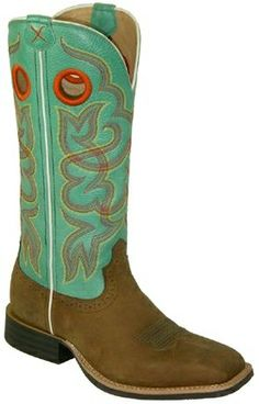 Twisted X Turquoise Distressed Boots -- These cowboy boots are wild and fun, and perfect for your #WeddingDay! | SouthTexasTack.com
