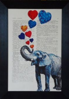Elephant art print love elephant print painting on an vintage french dictionary print elephant mixed media elephant print (313). $8.95, via Etsy.