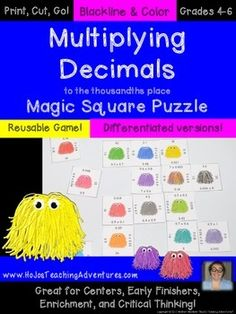 Multiplying Decimals Magic Square Puzzle - Great for centers, early or fast finishers, enrichment, critical thinking, and more! $