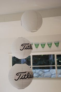 Golf party decorations: white chinese lanterns as golf balls // Pipeline Marketing 40th Birthday Parties, Retirement Parties, Boy Birthday, Golf Birthday Party Ideas, Birthday Cakes, Thema Golf, Golf Centerpieces, Golf Party Decorations, Golf Theme