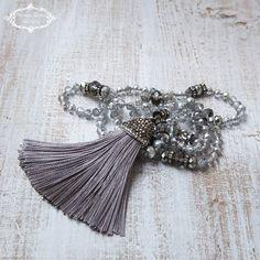 Silk Tassel Necklace Grey Silver Tassel Necklace Boho