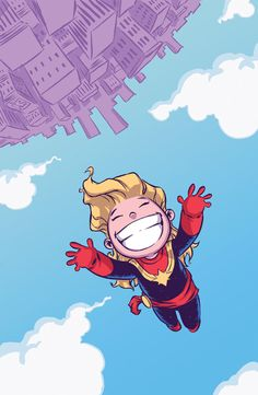 """""""Captain Marvel"""" #1 get s the traditional Skottie Young Li'l Marvels variant cover!"""