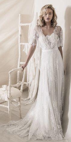 3a463102cff3 Discount Romantic Bohemian Soft A Line Strapless Neckline Wedding Dresses  Lihi Hod 2018 Full Lace Embellishment