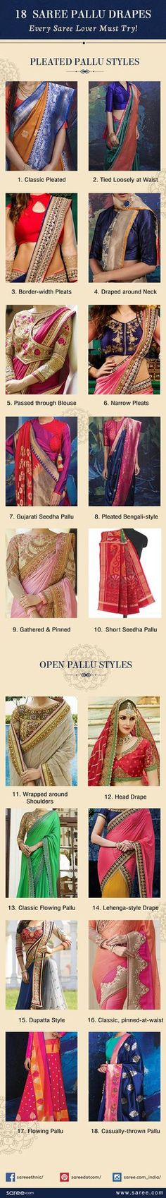 Add extra oomph to your saree style with these gorgeous saree pallu drapes. Pick practical, easy to carry ones or fancy, grand saree pallu draping styles. Ethnic Fashion, Indian Fashion, Girl Fashion, Fashion Tag, Fashion Outfits, Saree Draping Styles, Saree Styles, Blouse Styles, Saree Blouse Patterns