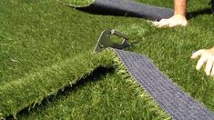 This stainless steel knife ensures a straight and precise cut in the synthetic grass with the right amount of clearance between the two turf sections to apply the glue tape. Artificial Grass Installation, Artificial Turf, Artificial Plants, Artificial Grass Ideas, Fake Turf, Fake Grass, Small Backyard Patio, Backyard Playground, Astro Turf
