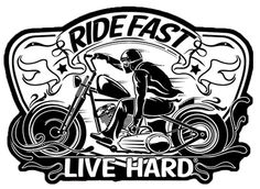 "[Single Count] Custom and Unique x 3 Inches) ""Biker"" Ride Fast Live Hard Iron On Embroidered Applique Patch {Black and White Colors} Harley Davidson Decals, Harley Davidson Tattoos, Harley Davidson Motorcycles, Motorcycle Posters, Bobber Motorcycle, Motorcycle Clipart, Motorcycle Memes, Motorcycle Tattoos, Black And White Colour"