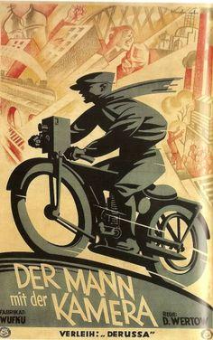 """1929 Julius Kupfer-Sachs' German poster for the movie """"Der Mann mit der Kamera"""" / Director: David Arkadevich Kaufman (aka Dziga Vertov) / Original Russian Title: Человек с киноаппаратом"""