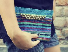 Studded Striped Pouch Pencil Cosmetic Pouch Bag Hand by KusiPeru, $19.00