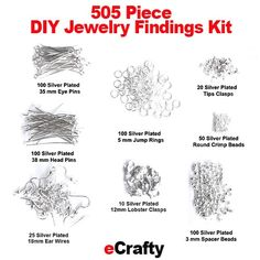 eCrafty.com's Jewelry Designer Starter Kit. 505 pc. Silver plated, nickel-free, cadmium and lead-free assorted findings 100 #eye pins, 100 #head pins, 100 3mm silver #spacer beads, 100 silver plated 5mm #jump rings, 25 silver plated #ear wires, 10 #lobster clasps, 50 silver #crimp beads, 25 silver #cord tips. #beads #etsy #beading #findings #jewelrymaking #diy #handmade #crafts #diykits