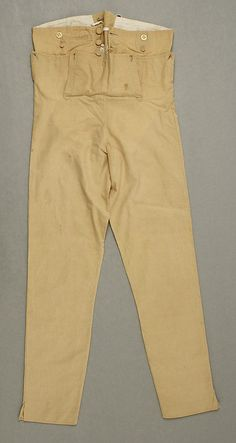 cotton trousers from 1800, Image @Met Museum, with slits up the seams. (Regency Fashion: Men's Breeches, Pantaloons, and Trousers article at Jane Austen's World has this an lots of other good examples and closeups of men's pant styles from the early part of the 19th century)