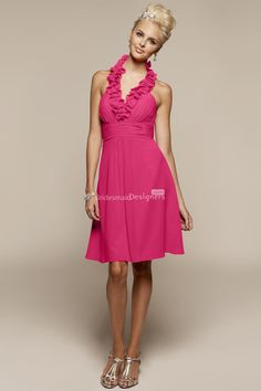 1a7df33efed sexy fuschia ruffle v-neck halter empire cocktail length a-line pleated bridesmaid  dress