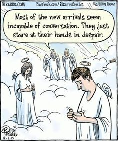 their Hands in Despair Bizarro in heaven without cell phonesBizarro in heaven without cell phones Funny Cartoons, Funny Comics, Funny Jokes, Hilarious, Funny Laugh, Christian Cartoons, Christian Humor, Christian Comics, Humor Religioso