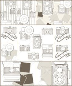Retro Camera Background And Seamless Patterns