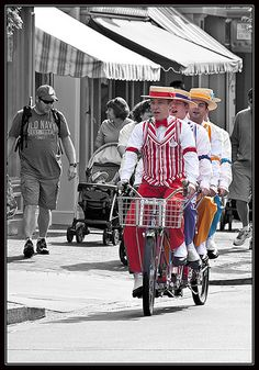 I love the Dapper Dans! Disneyland's barbershop quartet on a bicycle built for four!
