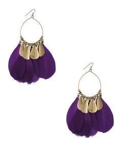 Forever21 purple feather earrings $4.80
