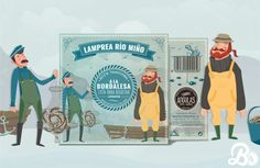 For the packaging design we decided to illustrate the arrival of the fishermen on the banks of the river, with a retro style illustrations in a cool pastel colors mix and a texture background imitating aged paper.