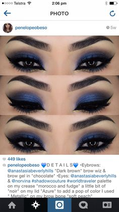 Glamor Look, Blue and Smokey Eyes grey for dark brown eyes, darker skin tones