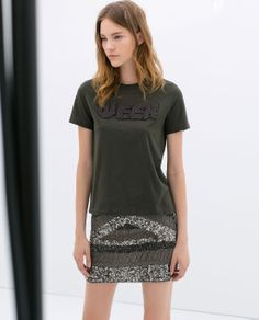 T-SHIRT WITH TEXT from Zara...Love the t-shirt/sequin skirt look.