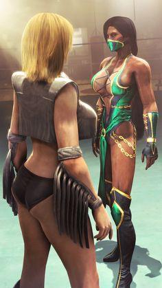 Stare down, Jade vs Tina, Mortal Kombat / Dead or Alive series artwork by Urbanator.