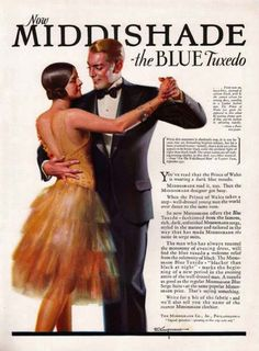 """""""You've read that the Prince of Wales is wearing a dark blue tuxedo.""""  Middleshade's blue tuxedo, 1927"""