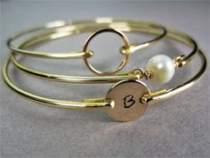 Gold Personalized Bangle Bracelet Set, Bridesmaids Gift, Bridal Jewelry, 14k Gold Bangle, Freshwater Pearl, Eternity Bracelet, Gifts for Her