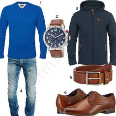 Outfit für Männer mit blauem Tommy Hilfiger Pullover, Armbanduhr und Ledergürtel, Jack & Jones Jeans, Indicode Herren-Übergangsjacke und Bugatti Schuhe.