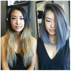 *TRANSFORMATION* Total hair makeover for my client I cut ✂ her hair into a and melted her natural base into a light steel blue . So in love with her new look! Ombré Hair, New Hair, Cut Her Hair, Hair Cuts, Natural Hair Styles, Short Hair Styles, Blue Ombre Hair, Short Blue Hair, Blue Grey Hair