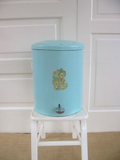 Vintage baby nursery hamper / diaper pail / trash can.
