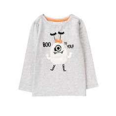 Toddler Girls Heather Grey Spooky Monster Tee by Gymboree
