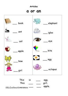 Printable indefinite article exercises with pictures - Buscar con Google