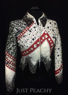 White, Red and Black Airbrushed Western Pleasure Jacket by Lindsey James ~ Just Peachy