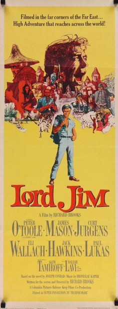 """Lord Jim (1965) Vintage Insert Movie Poster - Peter O'Toole - 14""""x36""""- FREE US SHIPPING"""