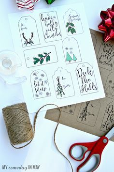 FREE Printable Christmas Gift Tags featured on Ella Claire.
