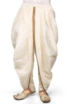 Dupion Silk Dhoti in Off White Mens Indian Wear, Mens Ethnic Wear, Indian Men Fashion, Mens Fashion Wear, Man Fashion, Dhoti Pants For Men, Dhoti Mens, Mens Sherwani, Indian Groom Dress