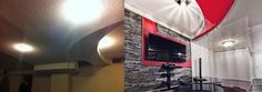 Before and after stretched ceiling installation in a residential basement with curved, multi-level, stucco covered ceilings. More: http://www.intexdzgn.com/