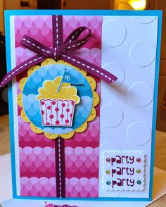 Catherine Loves Stamps: Cupcake Party, Cupcake Builder Punch, Sweet Taffy DSP, Polka Dot embossing folder