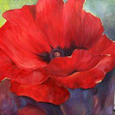 "Isola Artworks: Red Poppy ~ 20' x 20"" acrylic. I was experimentin..."