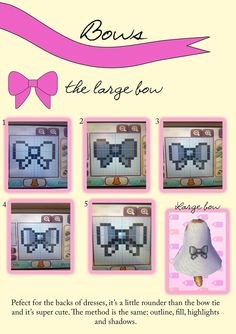 tutorial for a big bow on a pattern for ACNL