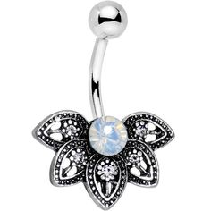 Clear Aurora Gem Lovely Petal Flower Belly Ring
