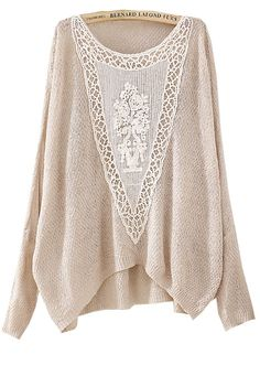 Beige Batwing Long Sleeve Hollow Embroidered Sweater - Sheinside.com