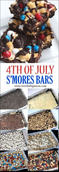 4th of July S'mores Bars! This layered dessert is so tasty and perfect for summer! From www.overthebigmoon.com! #ad