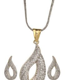 Buy HAPPINESS Collection AD Studded Gold Plated Festive Pendant Set For Women Pendant online